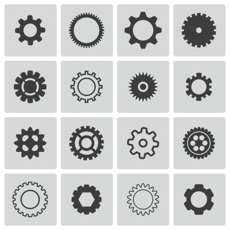 Vector black  gears  icons set Stock Vector - 22470866