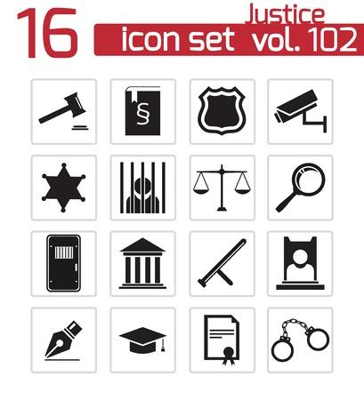 Vector negro iconos de justicia establecidos Ilustración de vector