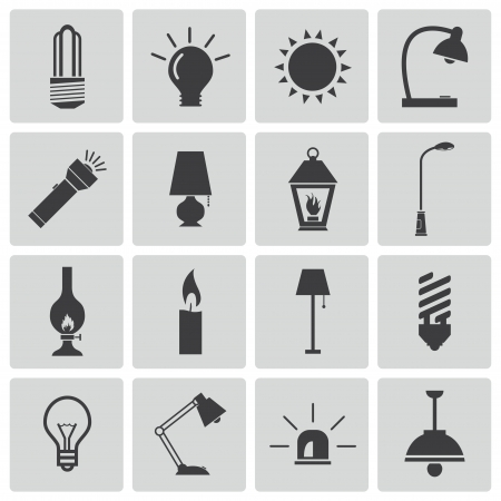 lighting bulb: Vector black light icons set Illustration