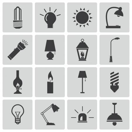 torch: Vector black light icons set Illustration