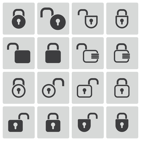 Vector black  lock  icons set Vector