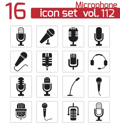 vocal: Vector black  microphone  icons set Illustration