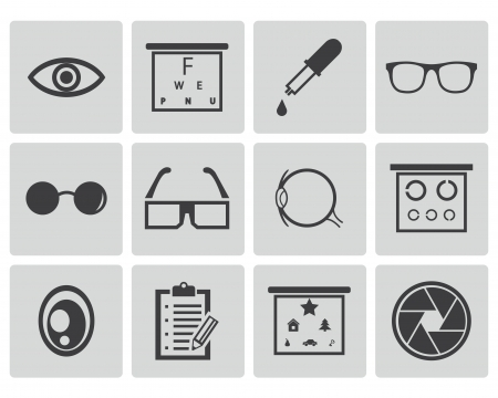 Vector black  optometry  icons set Vector