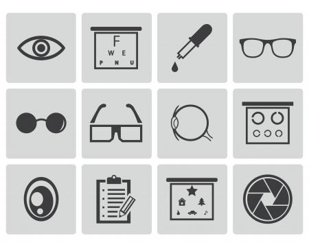 lentes de contacto: Vector iconos negros optometría establecen