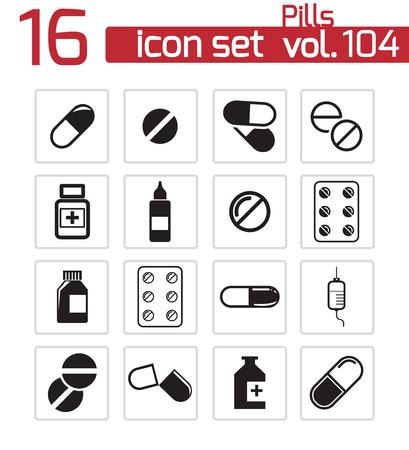 Vector nero pillole di set di icone