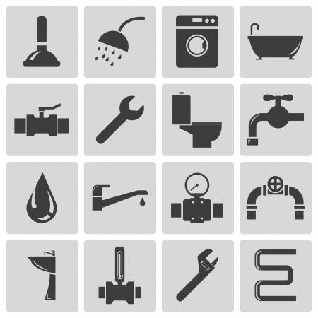 ванная комната: Векторные иконки черный сантехника установлена