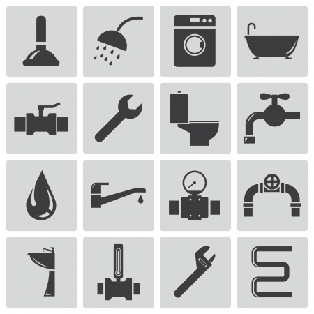 loodgieterswerk: Vector zwarte sanitair pictogrammen instellen