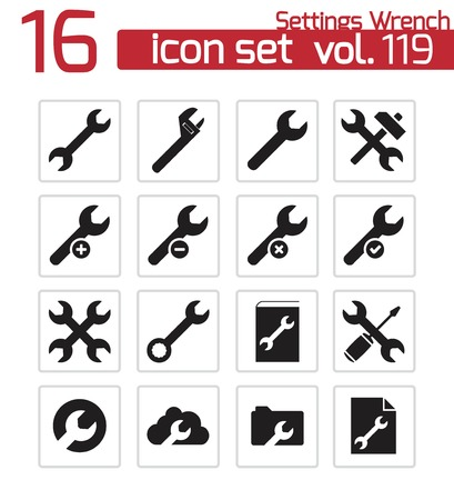 Vector black  settings wrench   icons set Stock Vector - 22471007