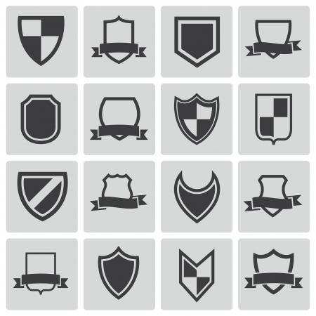 Vector black icon shield icons set Vector