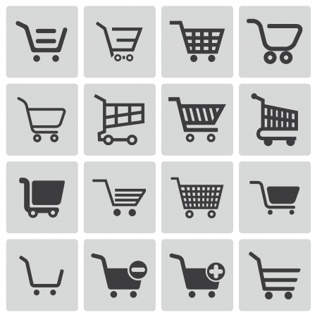 full shopping cart: Vector black  shopping cart  icons set