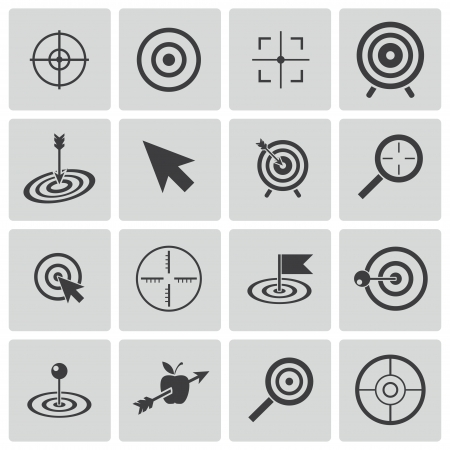 focus on the goal: Vector black  target  icons set