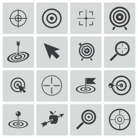 Vector zwarte doel pictogrammen instellen Stock Illustratie