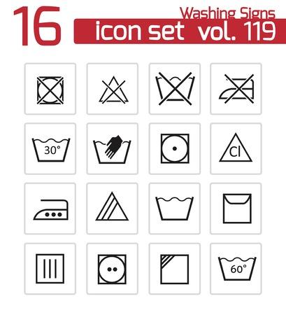 Vector nero icone lavaggio set