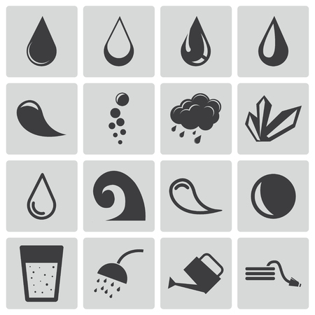 Vector black water icons set Stock Vector - 22471020