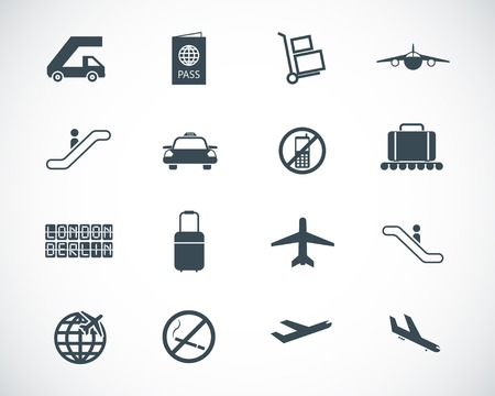 luggage bag: black airport icons set
