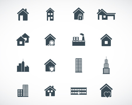 black building icons set Stock Vector - 22577122