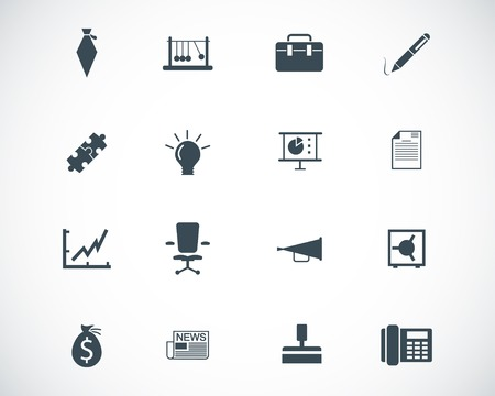 Vector black business icons set Vector