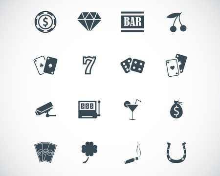 poker chips: black casino icons set Illustration