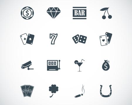 rueda de la fortuna: iconos casino negro Conjunto