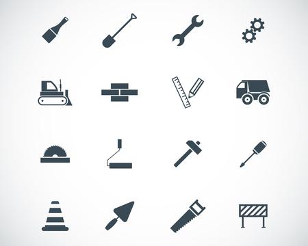 black  construction icons set Vector