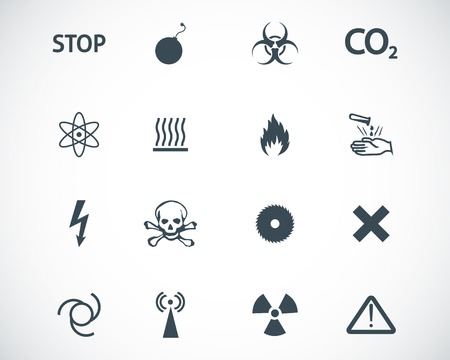 high voltage sign: black  danger icons set Illustration