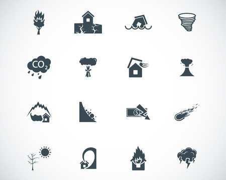 black  disaster icons set Stock Vector - 22577197