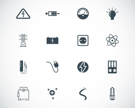 electrical equipment: black  electricity icons set Illustration
