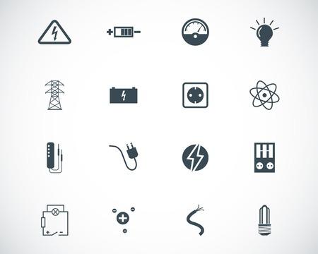 contador electrico: Iconos de electricidad negro conjunto