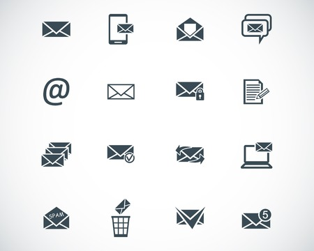 black  email icons set Stock Vector - 22577202