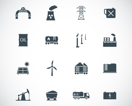 toxic barrels: black  industry icons set Illustration