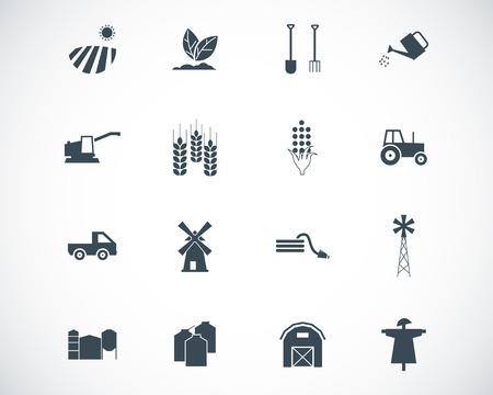 agriculture icon: black  farming icons set Illustration