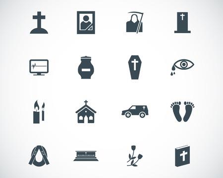 burning money: black  funeral icons set