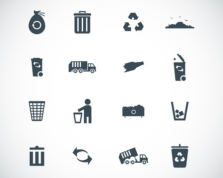 waste products:  black  garbage icons set Illustration