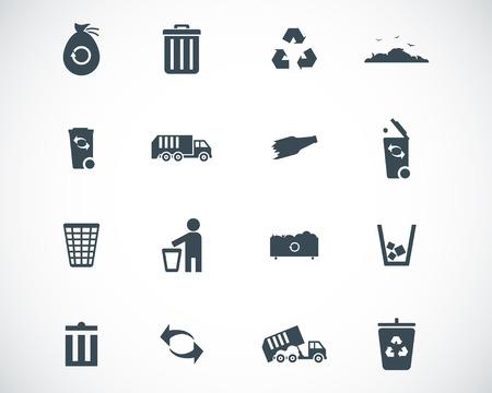 waste disposal:  black  garbage icons set Illustration