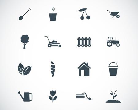 sprinkler: black  gardening icons set