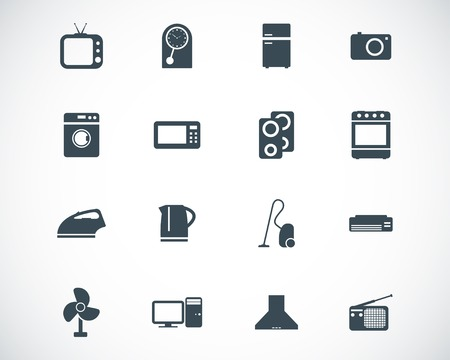black  home icons set Stock Vector - 22577228