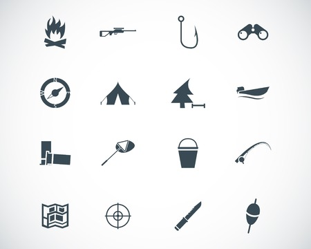 camping tent: black  hunting icons set