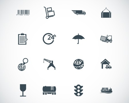 black  logistic icons set Stock Vector - 22577231