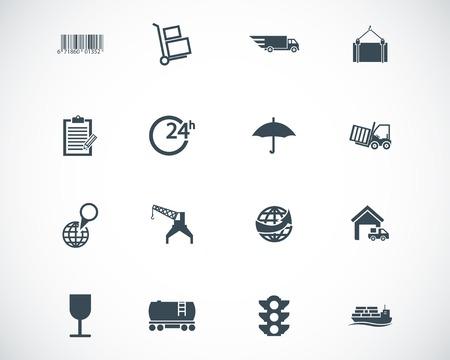 world trade center: black  logistic icons set