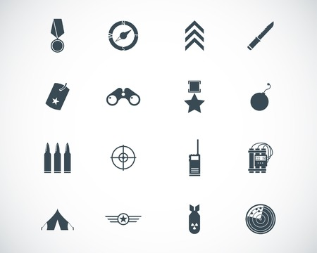 black  military icons set Stock Vector - 22577235