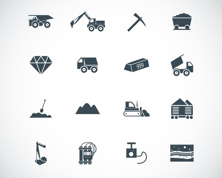 black  mining icons set 向量圖像
