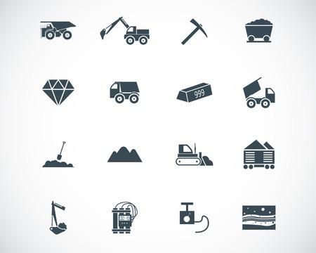 mining truck: iconos mineros negros fijados