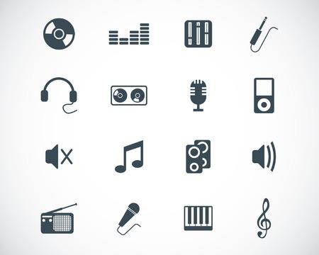 multimedia icon: black  music icons set