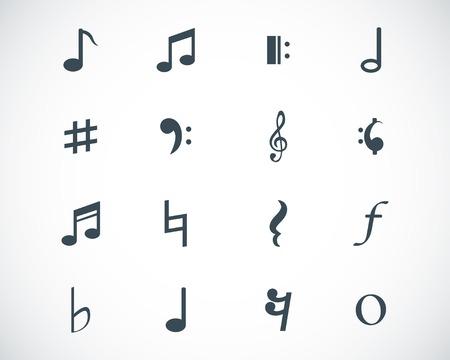 music note: black  notes icons set Illustration