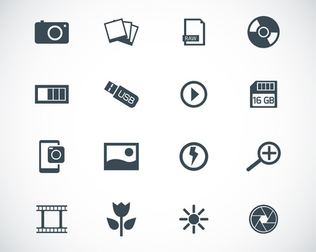 photo icons: black  photo icons set