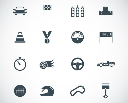 black  racing icons set Stock Vector - 22577246
