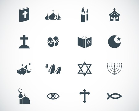 christian candle: black  religion icons set Illustration