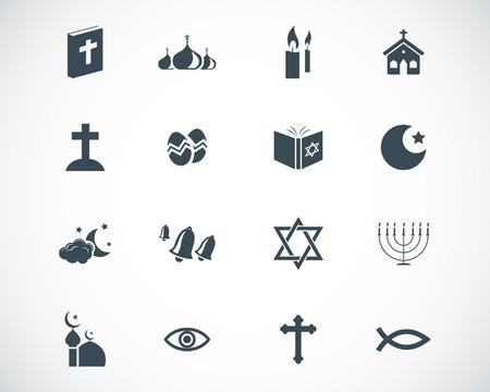 christian fish: iconos de la religi�n el conjunto negro Vectores
