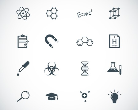 black  science icons set Stock Vector - 22577249