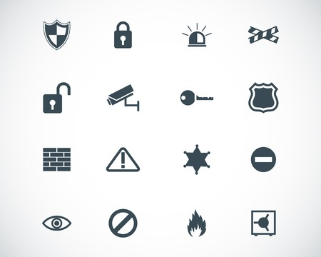 black  security icons set